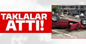 Trabzon'un Çarşıbaşı ilçesinde bir araç takla attı…